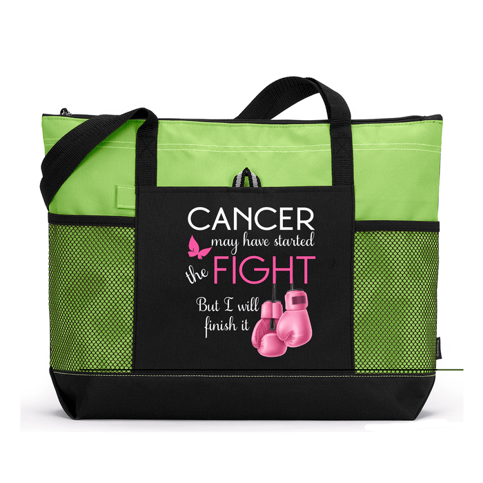 Cancer May Have Started the Fight Pink Boxing Gloves, Breast Cancer, Personalized Tote Bag with Mesh Pockets, Chemotherapy