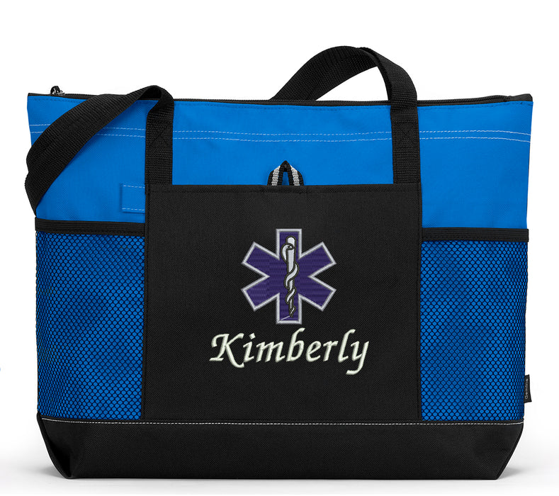 Star of Life EMT/Paramedic Personalized Embroidered Tote with Mesh Pockets - Simply Custom Life