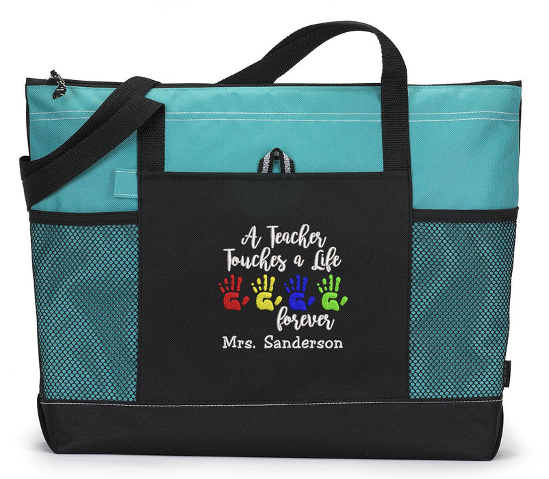 A Teacher Touches a Life Forever Personalized Tote Bag with Mesh Pockets - Simply Custom Life