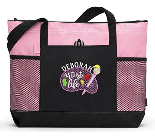 Artist Life Personalized Embroidered Tote Bag with Mesh Pockets - Simply Custom Life