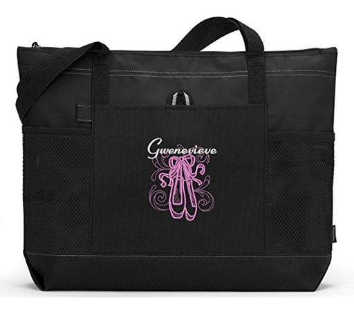 En Pointe Ballet Embroidered Zippered Tote Bag - Simply Custom Life