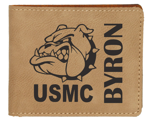 Devil Dog USMC Light Brown Leatherette Bifold Wallet - Simply Custom Life