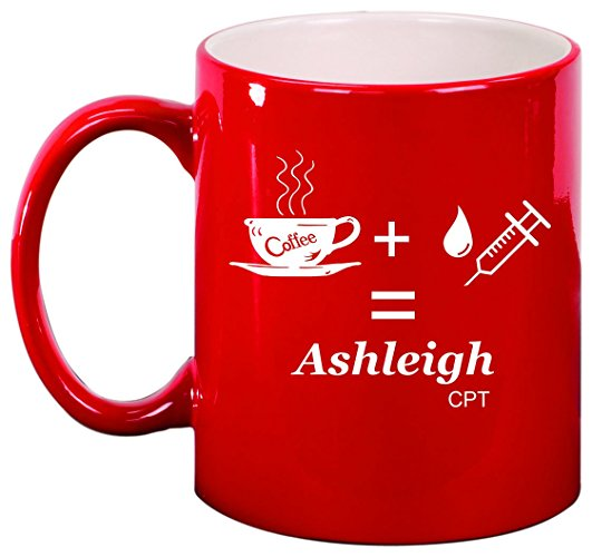 Coffee + Syringe Phlebotomist Personalized Engraved Ceramic 11 oz Coffee Mug - Simply Custom Life