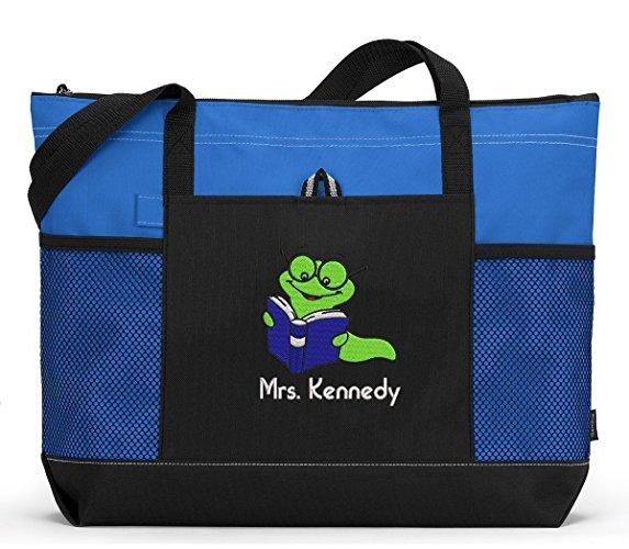 Bookworm Personalized Teacher Librarian Reading Tote Bag with Mesh Pockets - Simply Custom Life