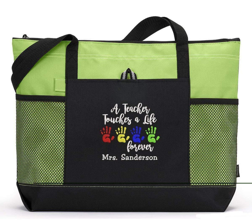 A Teacher Touches A Life Forever Personalized Embroidered Teacher Tote Bag with Mesh Pockets - Simply Custom Life