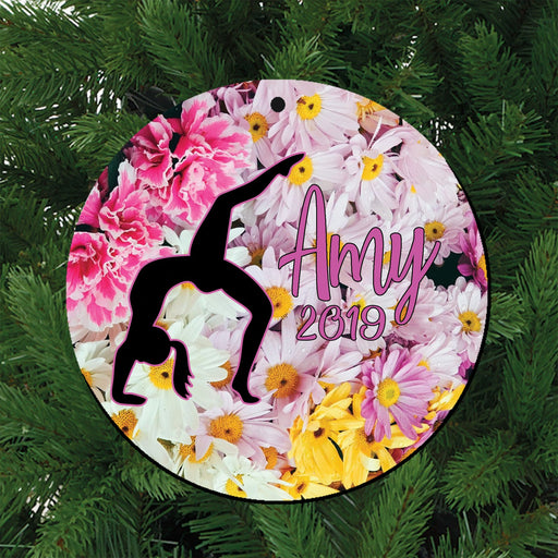 Backbend Floral Gymnast Personalized Ceramic Christmas Ornament, Gift for Her, Gymnastics Team - Simply Custom Life