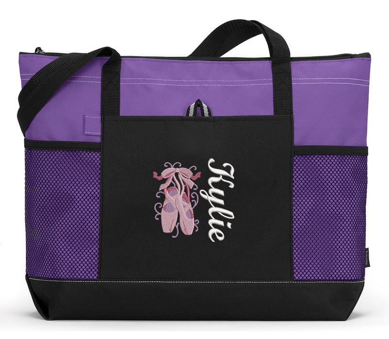 Ballet Slippers, Ballerina Personalized Embroidered Zippered Tote Bag - Simply Custom Life