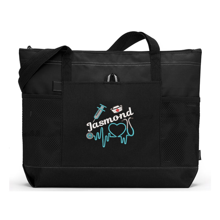 Nursing Stethoscope Personalized Embroidered Tote - Simply Custom Life