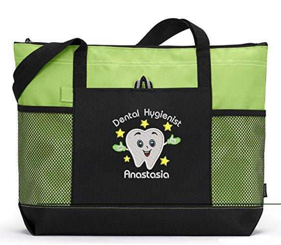 Happy Tooth Dental Hygienist Personalized Embroidered Tote - Simply Custom Life