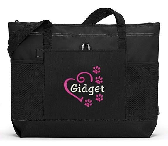 Personalized Dog Embroidered Tote Bag, Pet Gear Travel Bag with Heart and Paw Prints - Simply Custom Life