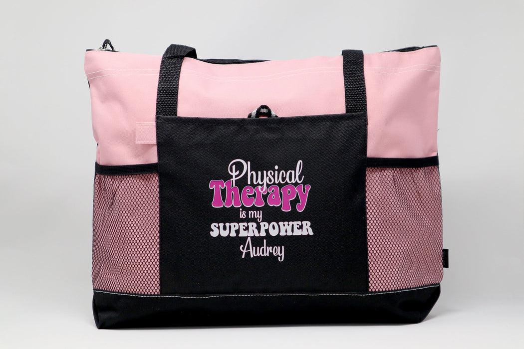 Physical Therapy is my Superpower / Physical Therapist Tote Bag with Mesh Pockets - Simply Custom Life