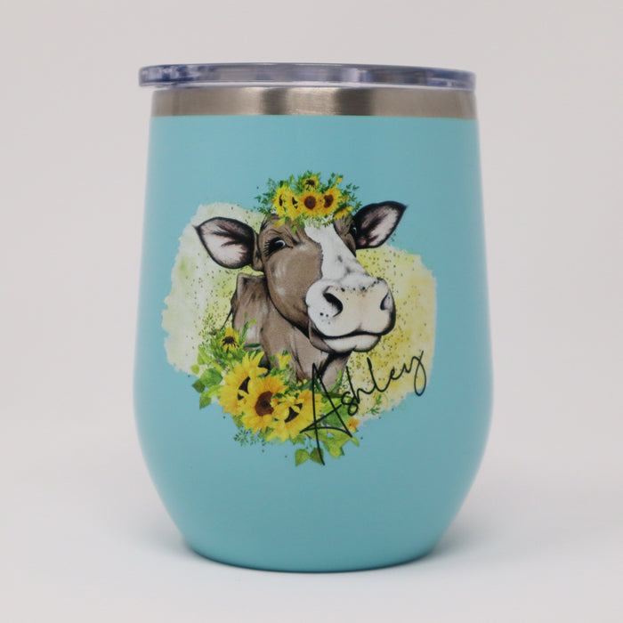 Sunflower Cow Personalized 12 oz Insulated Stemless Wine Tumbler - Simply Custom Life