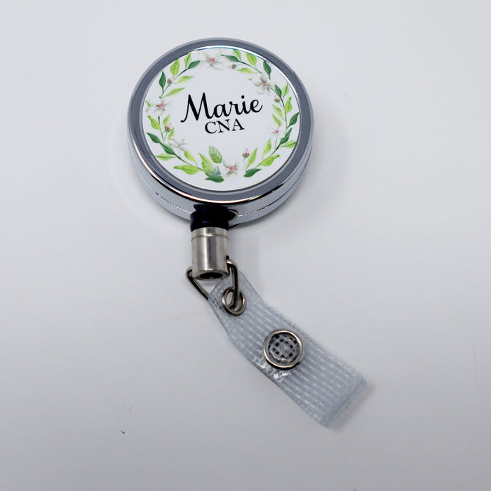 Badge Reel Spring Floral Nurse, RN, LPN, CNA Personalized Retractable Metal Retractable Badge Reel, ID Holder - Simply Custom Life