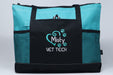 Vet Tech, Veterinarian Heart Paw Prints Embroidered Zippered Tote Bag - Simply Custom Life