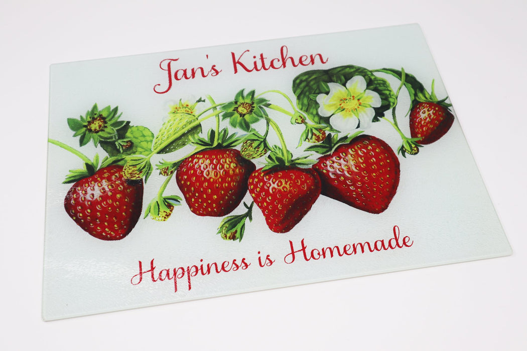 Happiness is Homemade Strawberry Design Personalized Tempered Glass Cutting Board - Simply Custom Life
