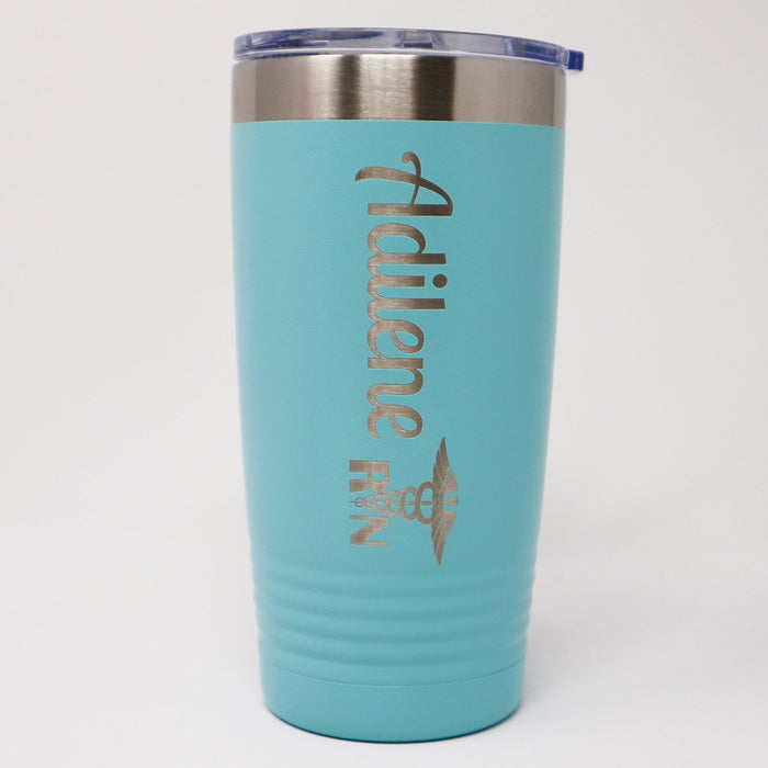 Personalized Engraved RN Caduceus Insulated Stainless Steel 20 oz Tumbler - Simply Custom Life