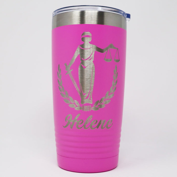 Lady Law Scales of Justice Personalized Engraved Insulated Stainless Steel 20 oz Tumbler, Paralegal Gift - Simply Custom Life