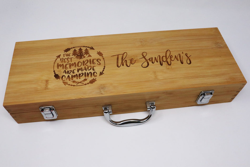 The Best Memories are Made Camping  Personalized  BBQ Grilling Tool Set  Engraved - Simply Custom Life