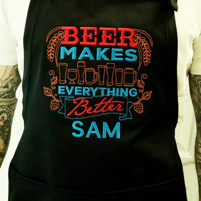 Beer Makes Everything Better Personalized Embroidered Apron - Simply Custom Life