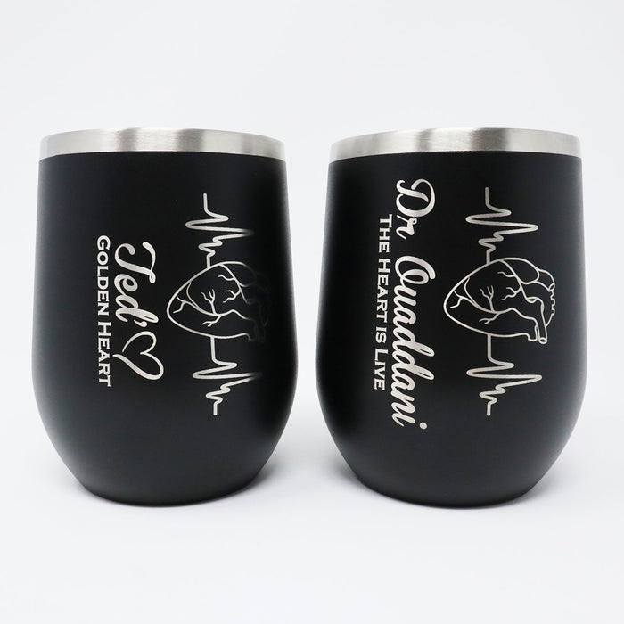 Heartbeat Realistic Heart Personalized Engraved Insulated Stemless Stainless Steel 12 oz Tumbler - Simply Custom Life