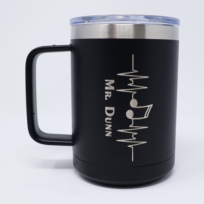 Heartbeat Music Personalized Engraved 15 oz Insulated Coffee Mug - Simply Custom Life