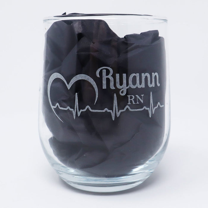 Heartbeat EKG  Personalized Engraved Stemless Wine Glass - Simply Custom Life