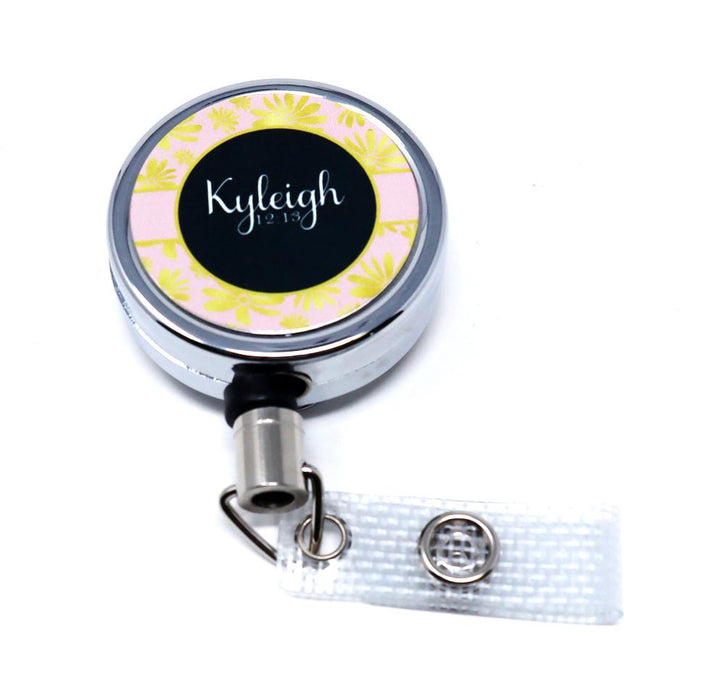 Nurse, RN, LPN, CNA Gold Flowers Personalized Retractable Metal Retractable Badge Reel, ID Holder - Simply Custom Life