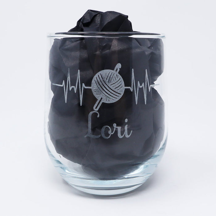 Heartbeat Knitting, Yarn, Crafting Personalized Engraved Stemless Wine Glass - Simply Custom Life