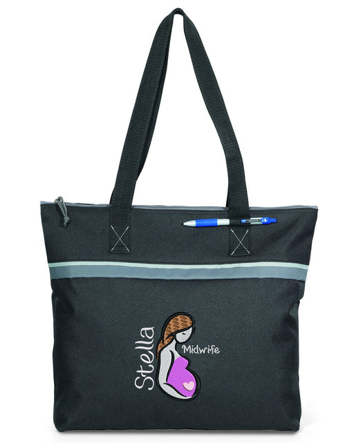 Midwife Doula NICU PICU L&D Embroidered Personalized Small Travel Beach Tote - Simply Custom Life