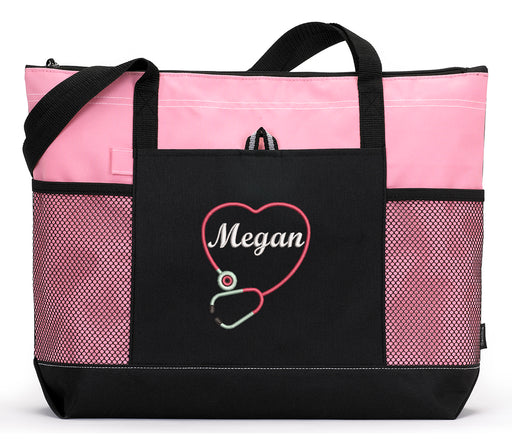 Personalized Nurse, CNA, RN, LPN Tote Bag with Mesh Pockets - Simply Custom Life