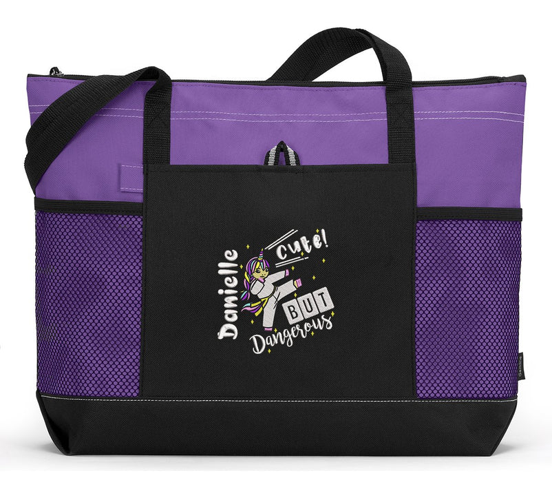 Karate Unicorn Personalized Embroidered Tote for Competition Meets - Simply Custom Life