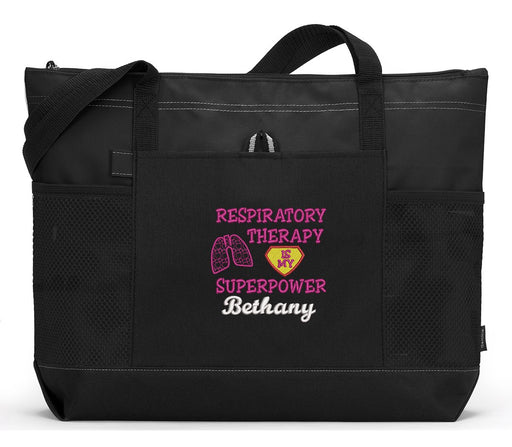Respiratory Therapy is my Superpower Embroidered Zippered Tote Bag with Mesh Pockets - Simply Custom Life