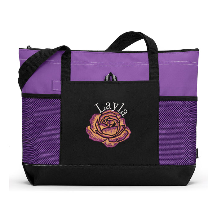 Single Rose Flower Personalized Embroidered Tote Bag with Mesh Pockets - Simply Custom Life