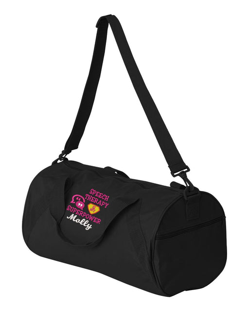 Speech Therapy is my Superpower Embroidered Personalized Duffle Bag - Simply Custom Life