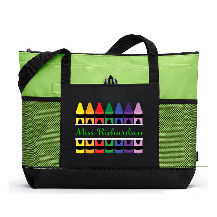Teacher Crayons Personalized Zippered Tote Bag - Simply Custom Life