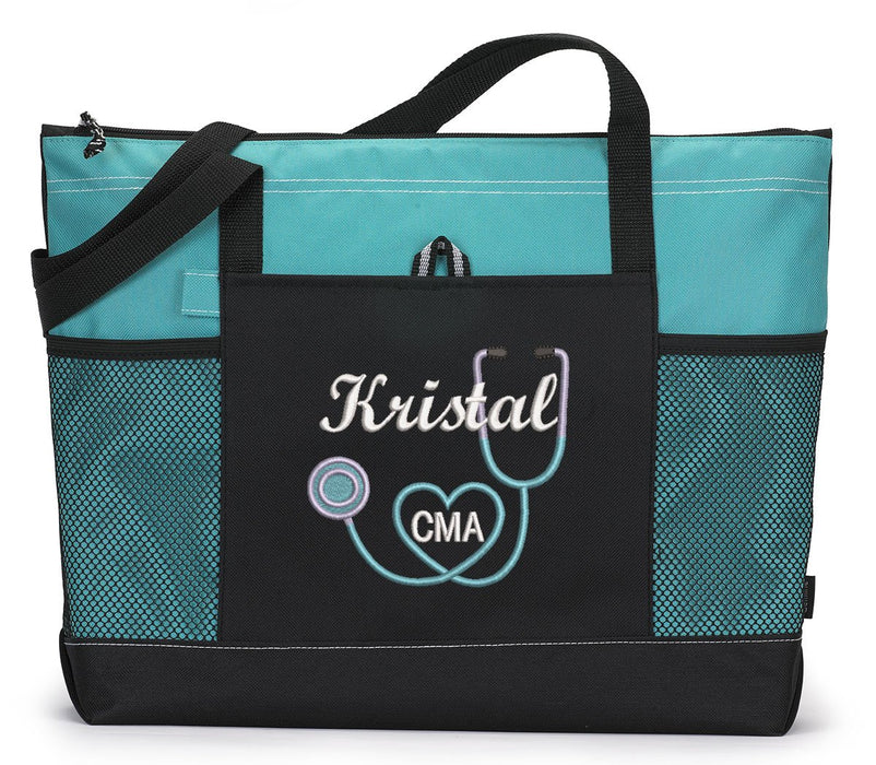 Nurse 2, RN, LPN, CNA, Medical Personnel Personalized Embroidered Tote Bag - Simply Custom Life