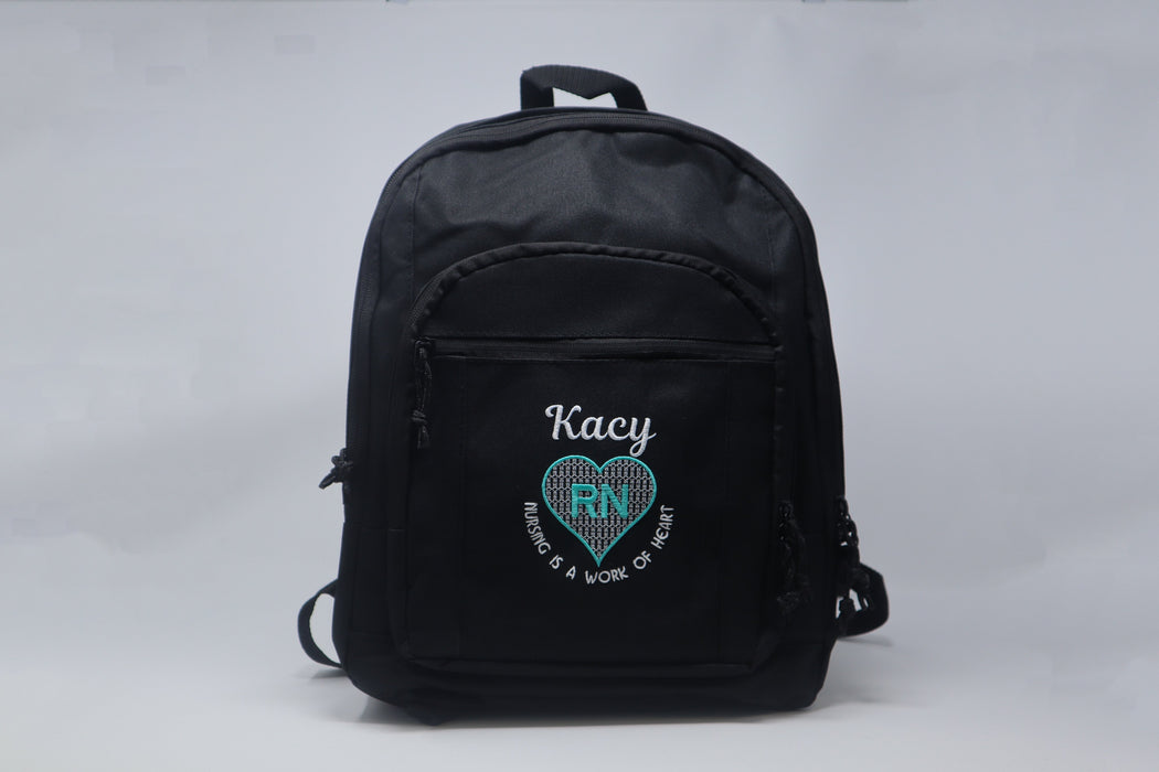 Nursing is a Work of Heart RN, LVN,CNA, MA, Nurse Backpack Personalized Embroidered - Simply Custom Life