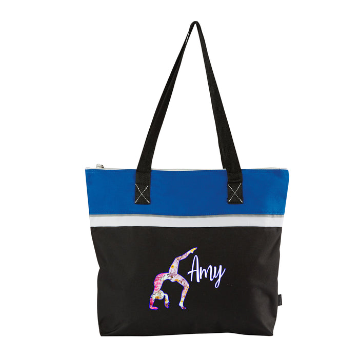 Back Bend Floral Gymnast Personalized Small Travel Beach Tote, Gift for Her, Gymnastics Team - Simply Custom Life