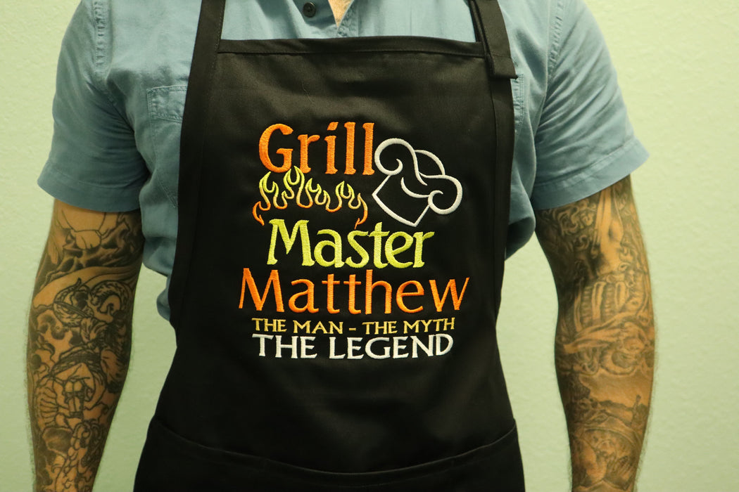 Grill Master The Man The Myth The Legend Personalized Men's Embroidered BBQ Apron - Simply Custom Life