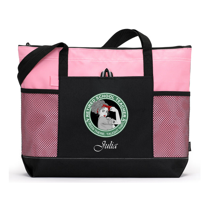 Simply Custom Life Tote Bag Pink / No Organizer Retired School Teacher Been There Taught That Tote Bag with Mesh Pockets