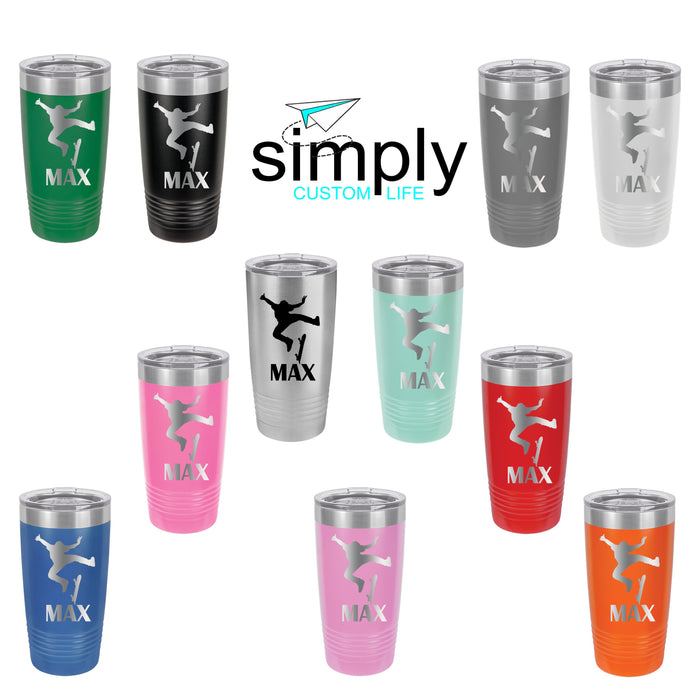 Skateboard Personalized Engraved Insulated Stainless Steel 20 oz Tumbler - Simply Custom Life