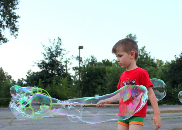 "Extreme Bubbles 10"" Big Bubble Wand Kit makes it easy for children to blow tons of big bubbles, even on windy days!"