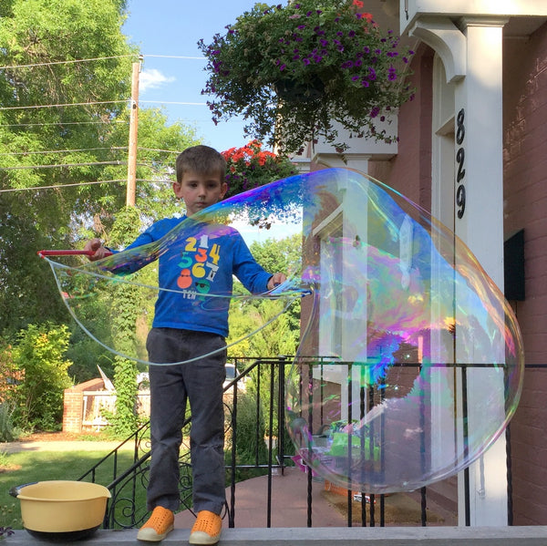 Homemade big bubbles, made without glycerin