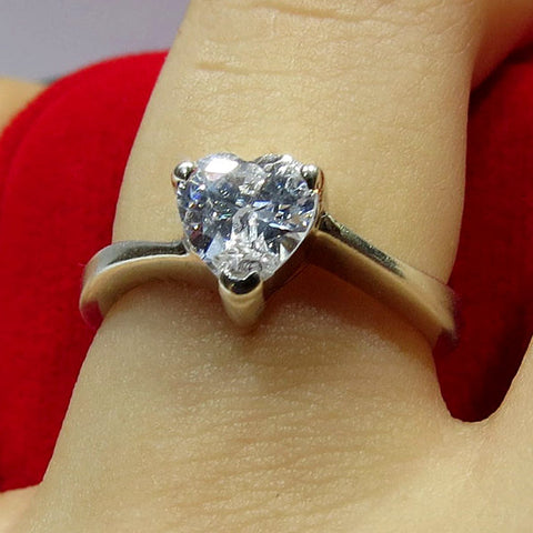 Compromiso en plata Anillo Hearth