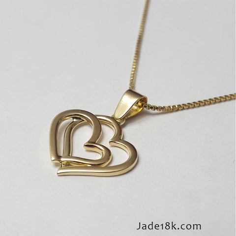 Collar de Corazon doble para Dama Oro 18k