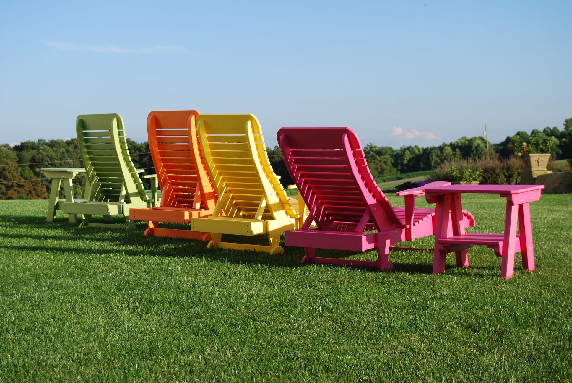 Poly chaise lounge chairs in four colors