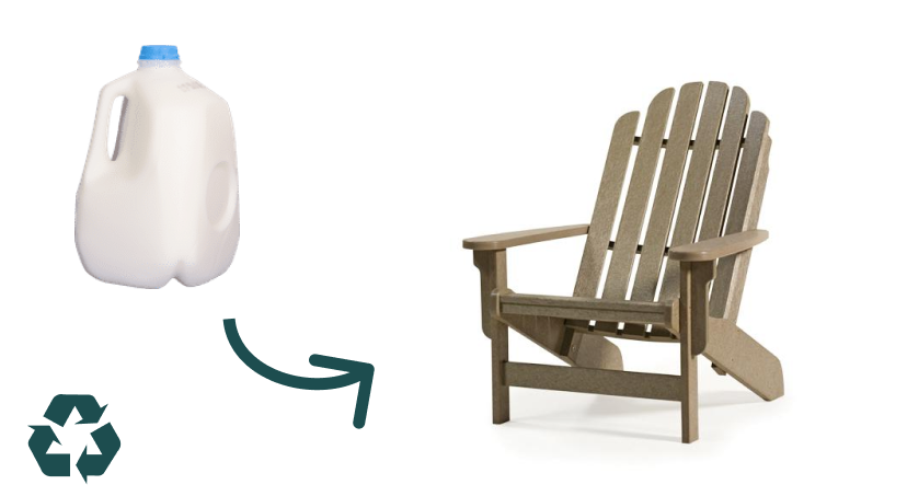 Recycled milk jug to adirondack chair
