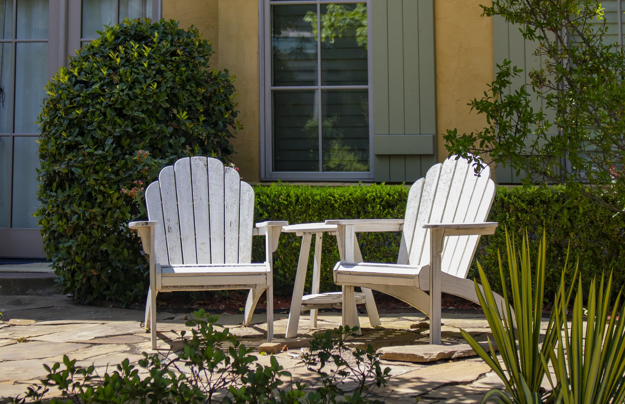 Wooden outdoor adirondack chairs