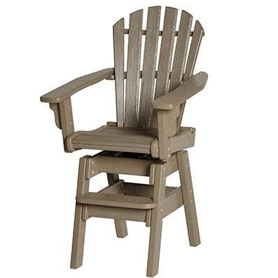 Breezesta Coastal Swivel Bar Chair in Weatherwood Front View