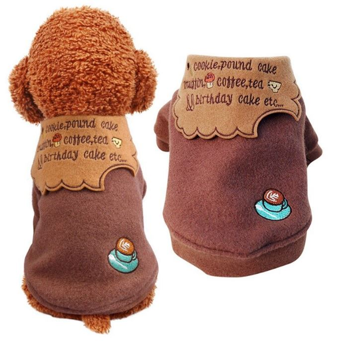 Winter Warm Dog Clothes Coat For Small Dogs - Coffee Color